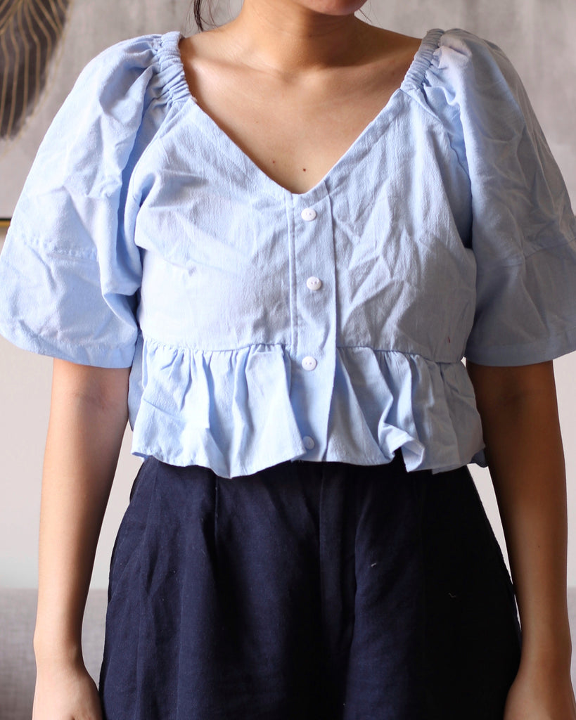 Blue Three Fourths Flowy button down with front ribbon