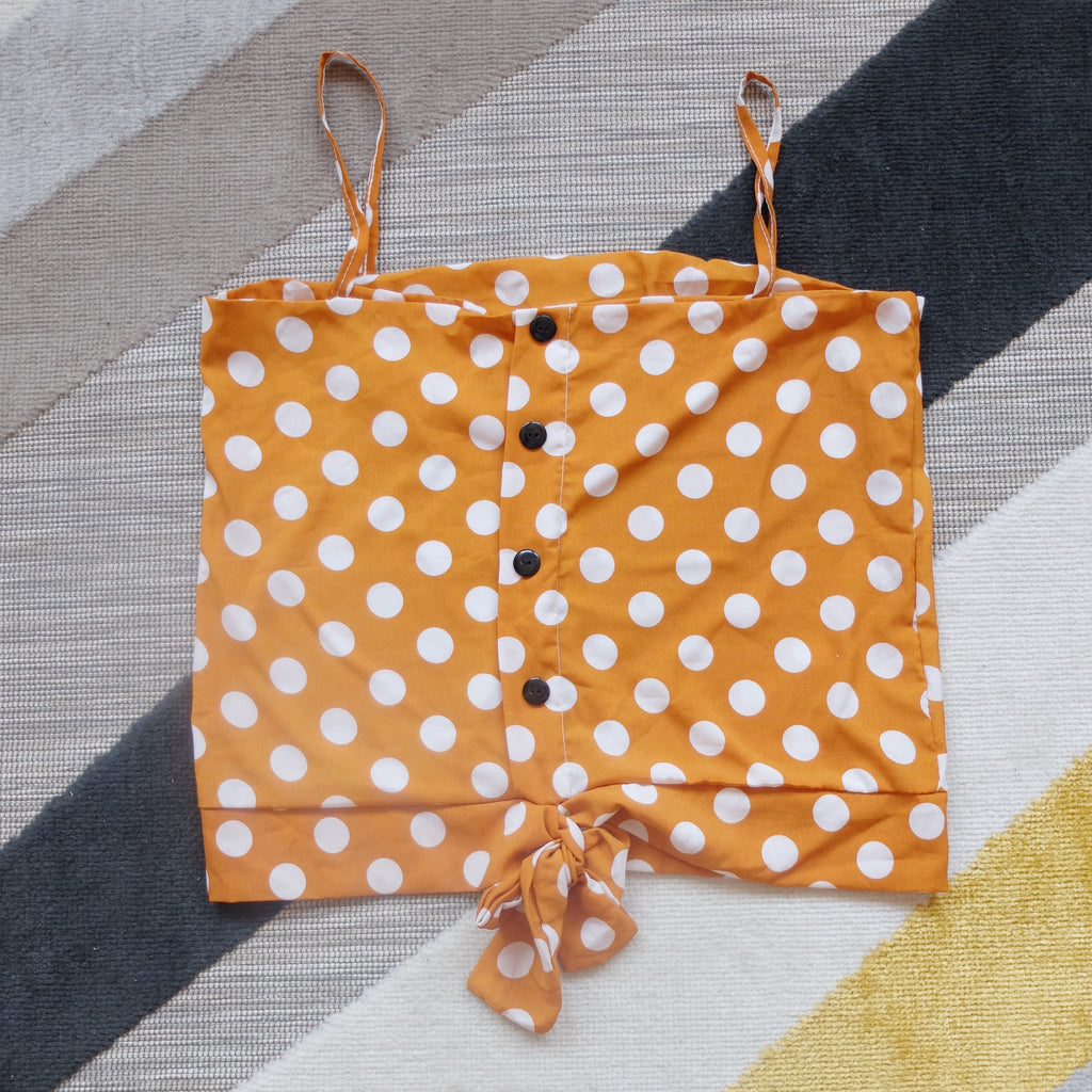 Yellow polka dot spag top