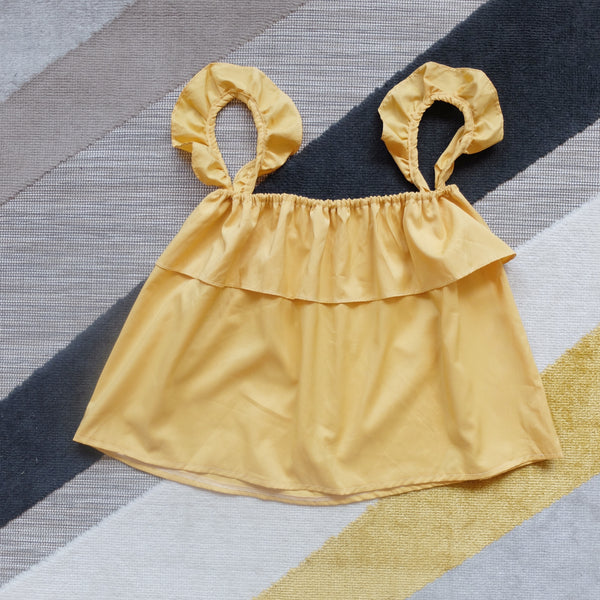 Yellow ruffles sleeves top