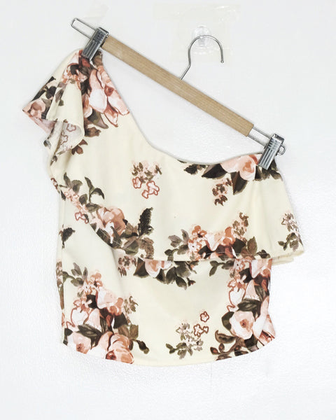 Cream one side floral top