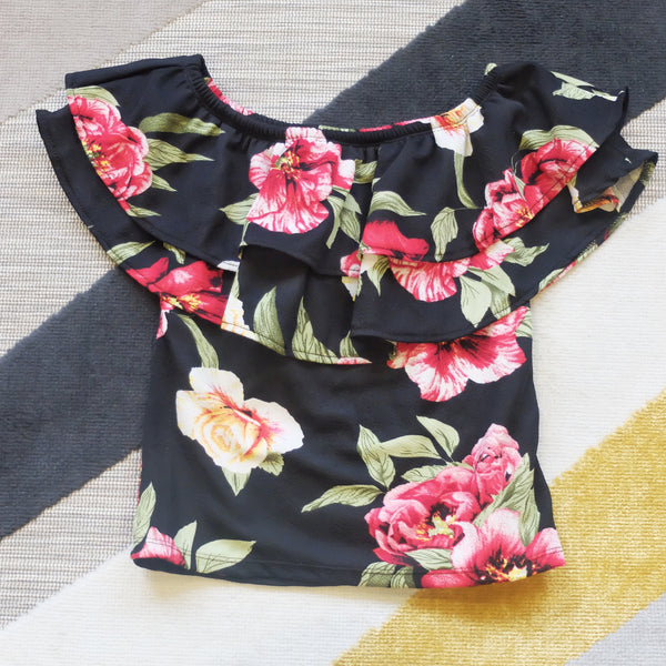 Black floral off shoulder