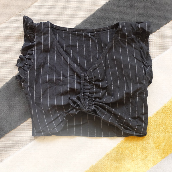 Black pinstripes pull top