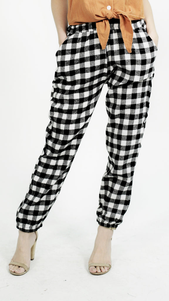 Black soft checkered trouser