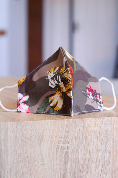 Premium Linen Mask- Brown Floral