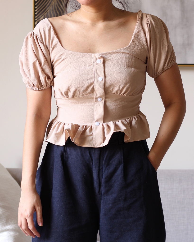 Cream Square Neck Button Accent Flowy Top