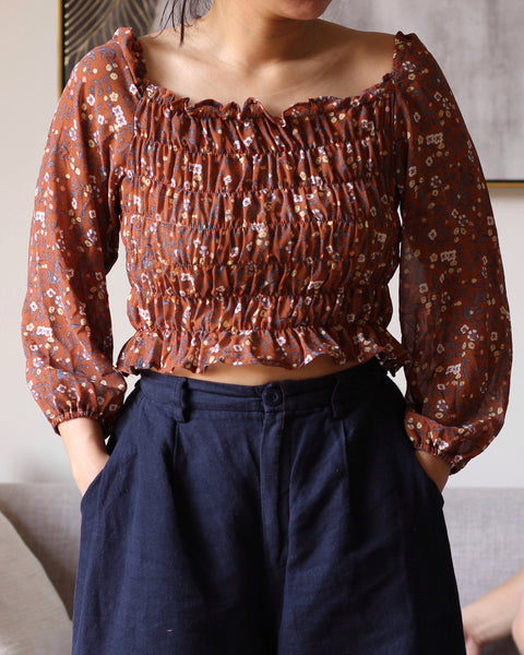 Brown  Pink Floral Chiffon bod Longsleeves