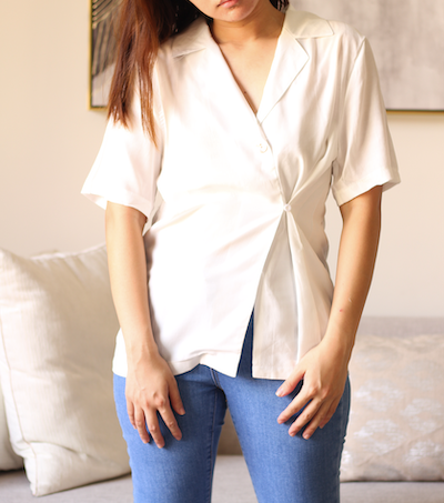 White One Button  Luxe Short Sleeve