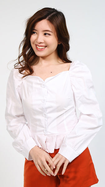 Zara button down fitted semi off shoulder longsleeve
