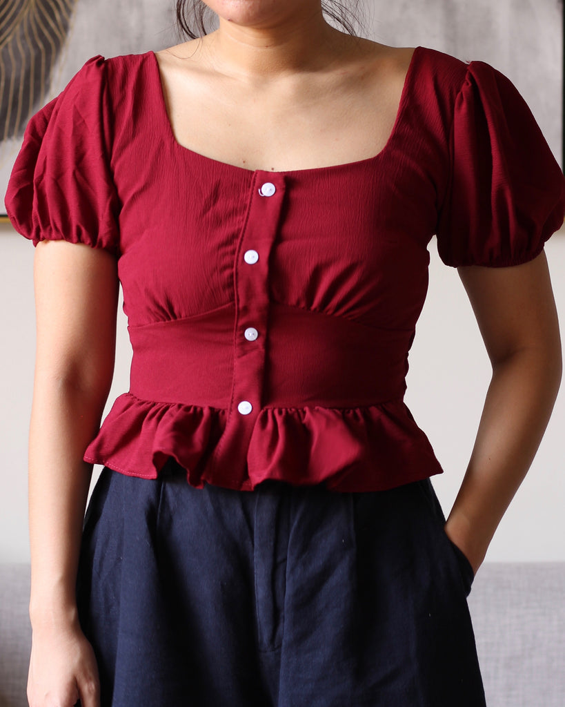 Maroon Square Neck Button Accent Flowy Top