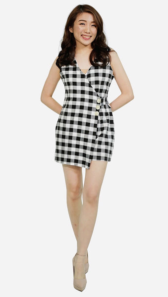 Black gingham button accent romper