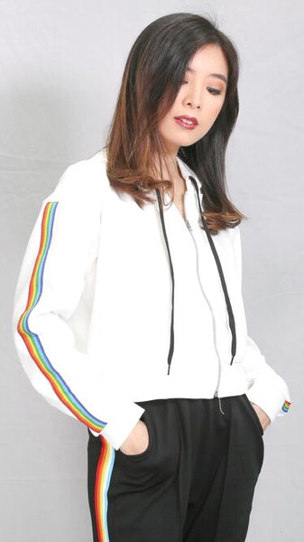White pullover jacket with rainbow accent