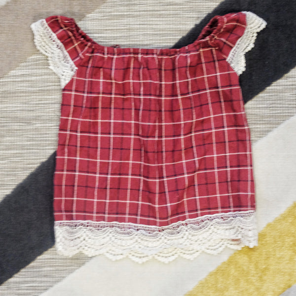Maroon gingham lace