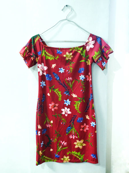 Maroon off shoulder floral dress