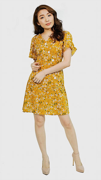 Mustard floral button sided with tie knot skater dress