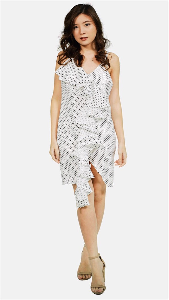 White spag polka dot with ruffles hem