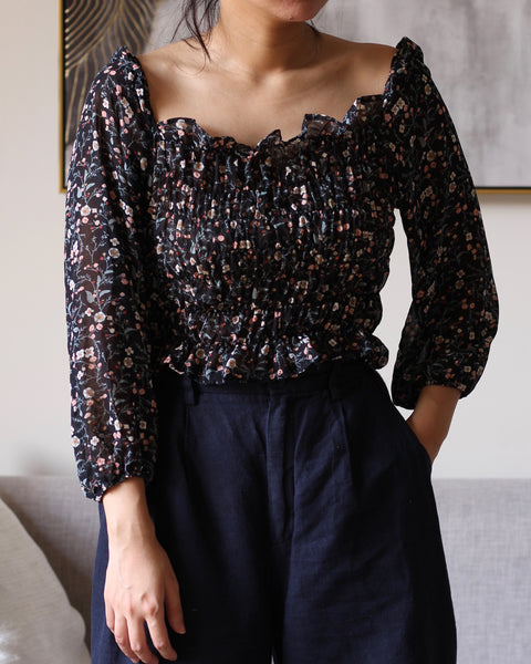 Black Pink Floral Chiffon bod Longsleeves