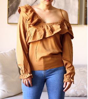 Brown Single Strap Ruffles Wrap Longsleeves