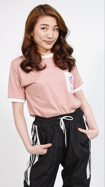 Salmon pink Peach pocket shirt