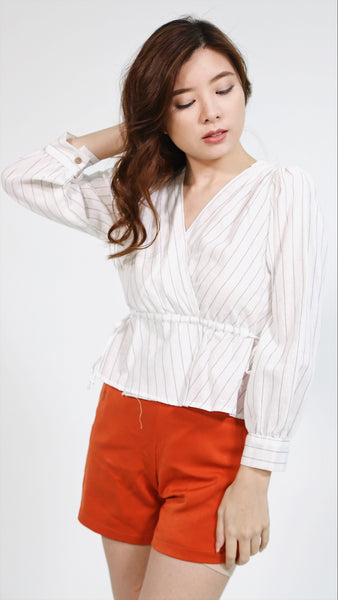 Arrow pinstripes v neck peplum longsleeves
