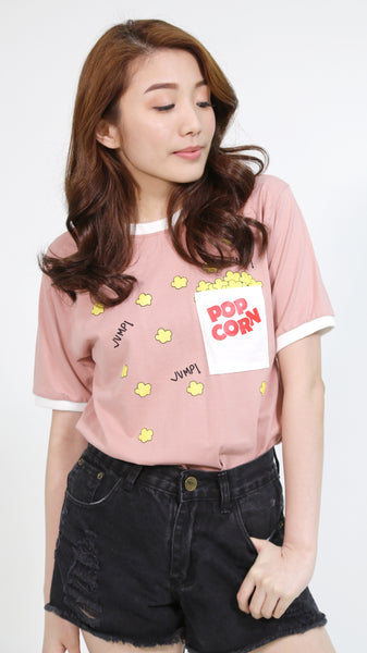 Salmon pink pop corn pocket shirt