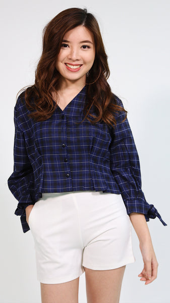 Navy blue plaid button down v neck longsleeve