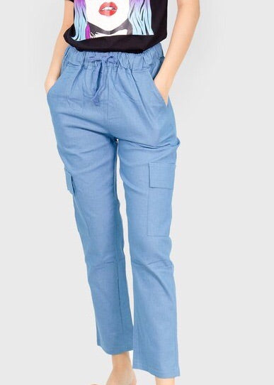 Denim chambray cargo pants