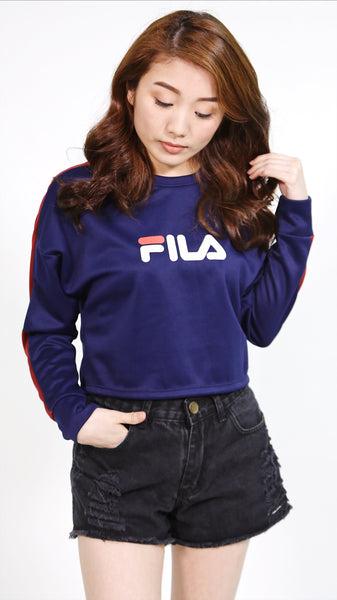 Blue Fila polyester pullover with red lining