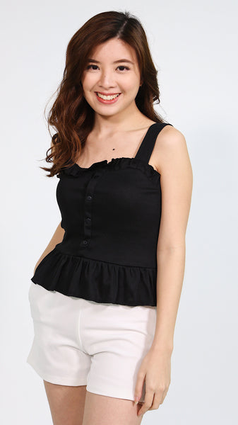 Black thin strap ruffles hem with button accent
