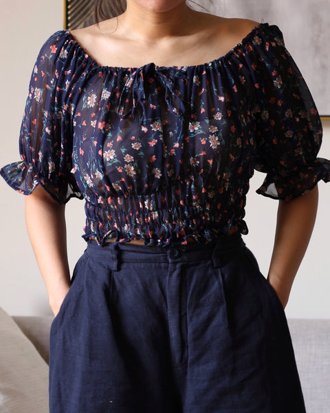 Navy Blue  Puffy Floral Sleeves
