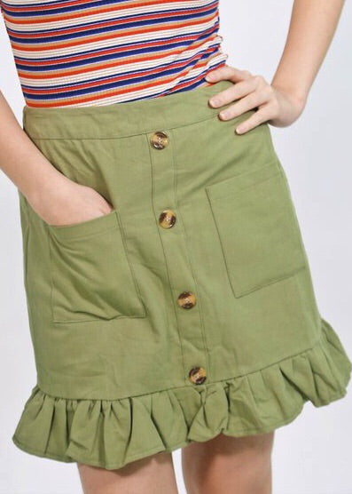 Green garterized button down skirt with pocket and wide hem