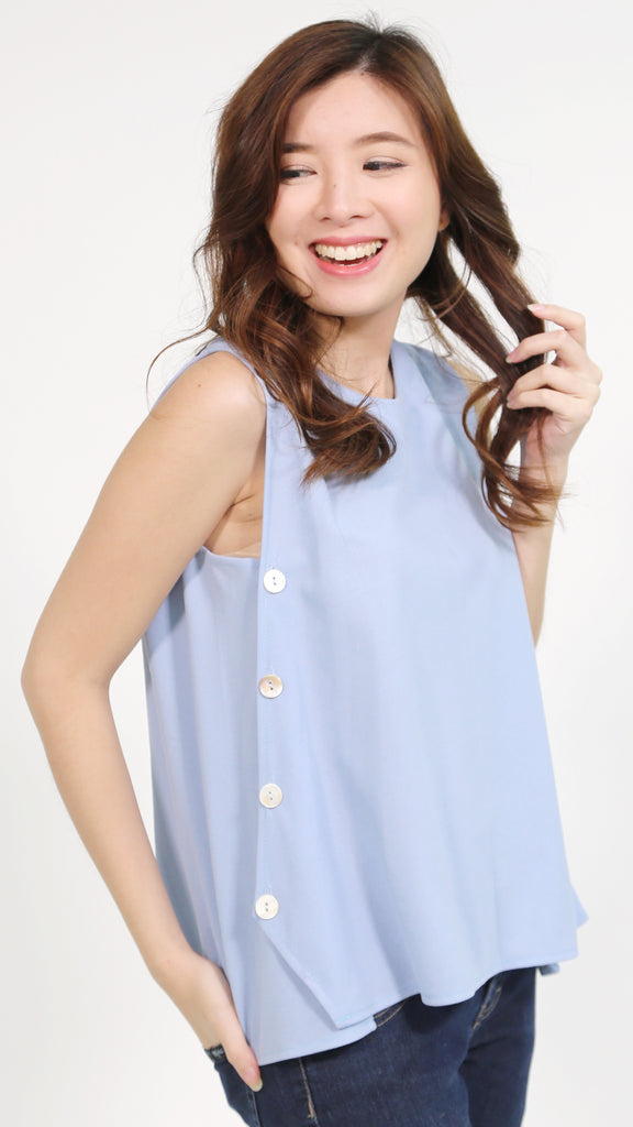 Blue sleeveless button chiffon side accent