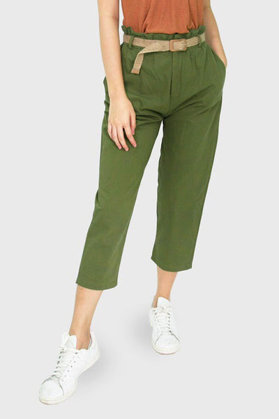 Military green trousers with ratan