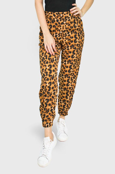 Brown leopard jogger pants