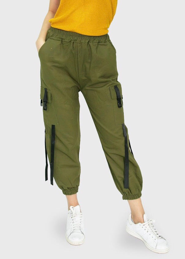 Military green cargo with push belt and pocket