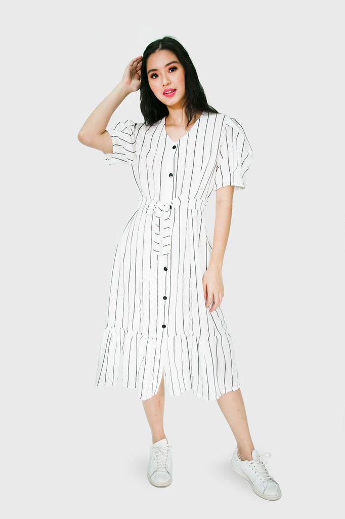 White button down lines maxi dress
