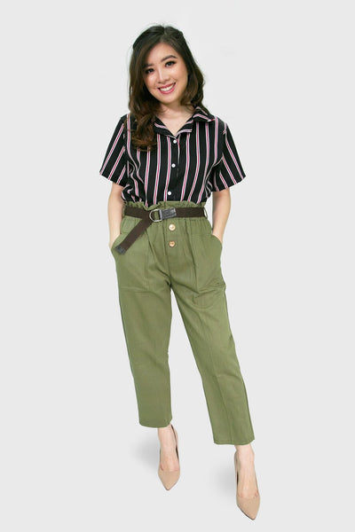 Military green highwaist trouser with three button