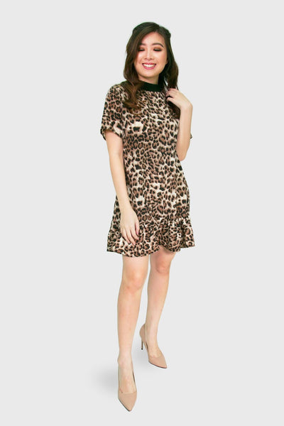 Leopard dress with pleated hem
