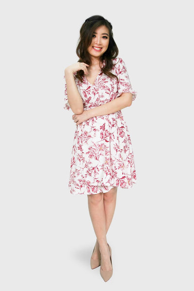 White sketch floral wrap dress