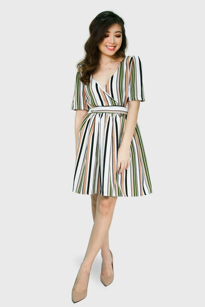 Green stripes v neck dress