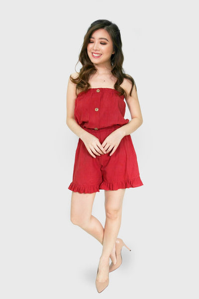Coral tube romper with button accent