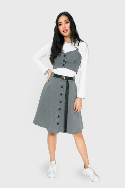 Gingham sweetheart leather spag top and skirt wth button accent