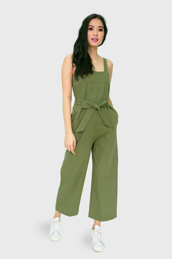 Military green jumpsuit with ribbon
