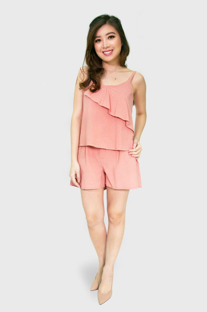 Pink brown spag top and shorts set