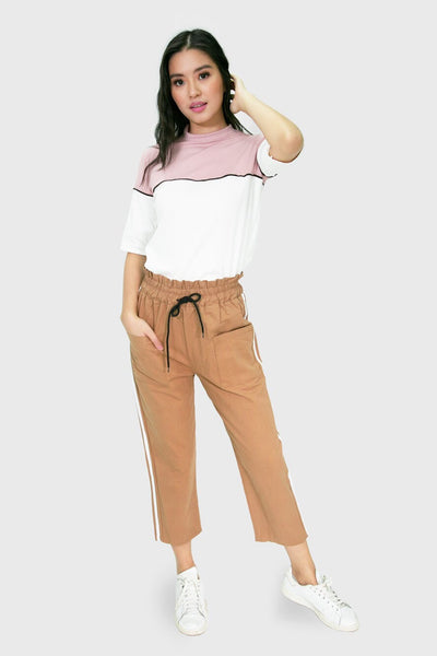 Khaki culottes with white strip