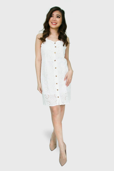 Swiss spag button down dress