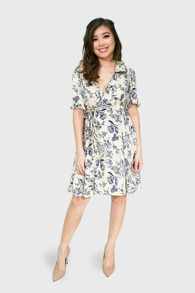 Cream sketch floral wrap dress