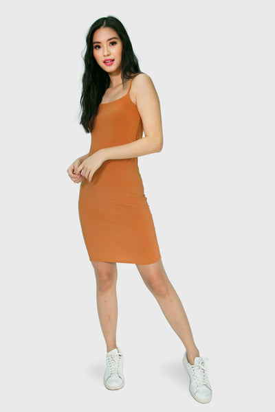 Brown body con spag dress