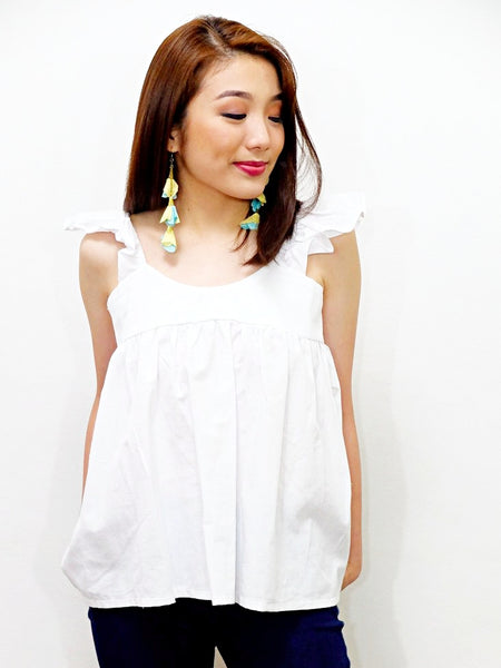 white ruffles with midi skater top