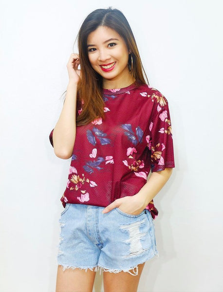 maroon floral jersey top