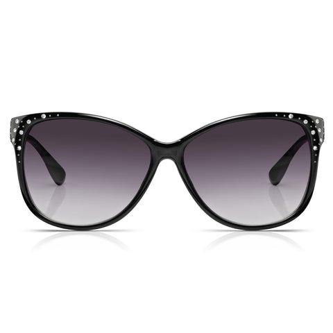Sunglassjunkie Black Oversized Cats Eye Sunglasses